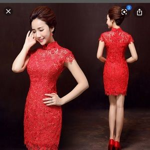 Red cap sleeve lace dress